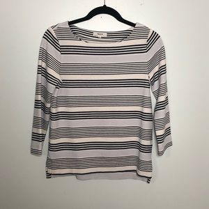 Madewell Black and White Striped 3/4 sleeve top